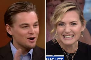 Stills of Kate and Leo smiling as they talk about one another on talk shows