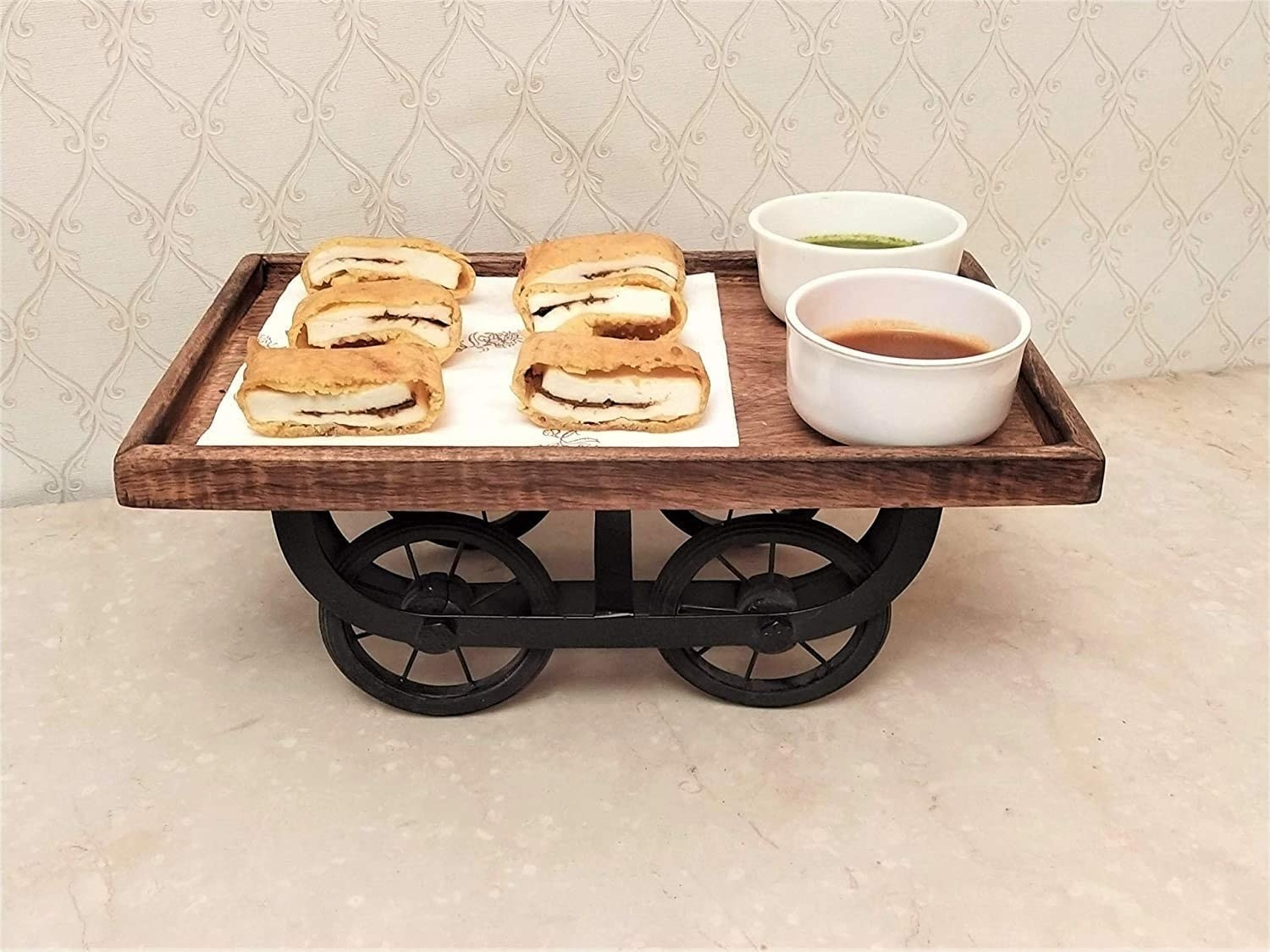 A serving tray with food items on it