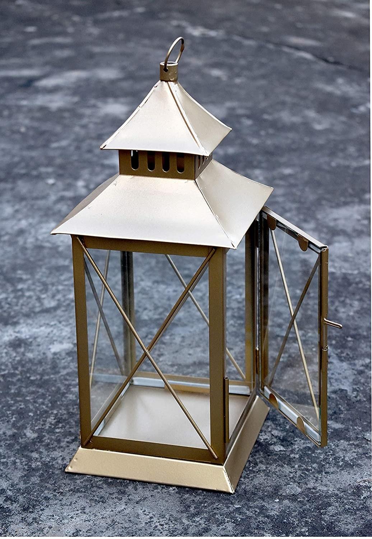 A golden lantern on the floor