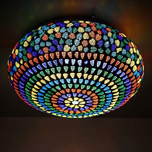 A mosaic lamp on the ceiling