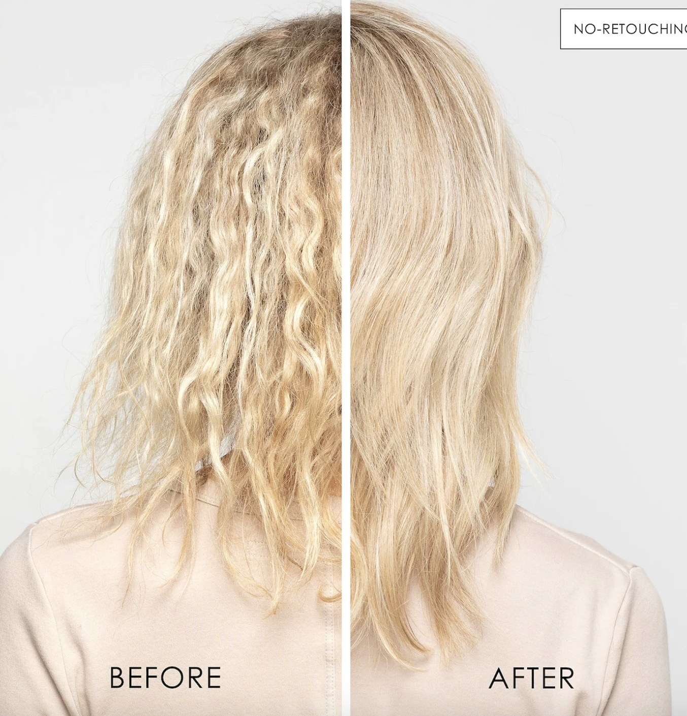 on the left a model's blonde damaged hair before the treatment, on the right the same model after the treatment with smoother hair