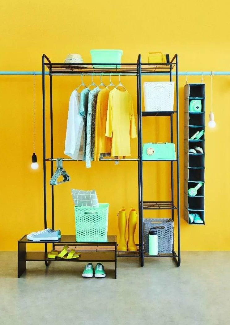 a freestanding open wardrobe