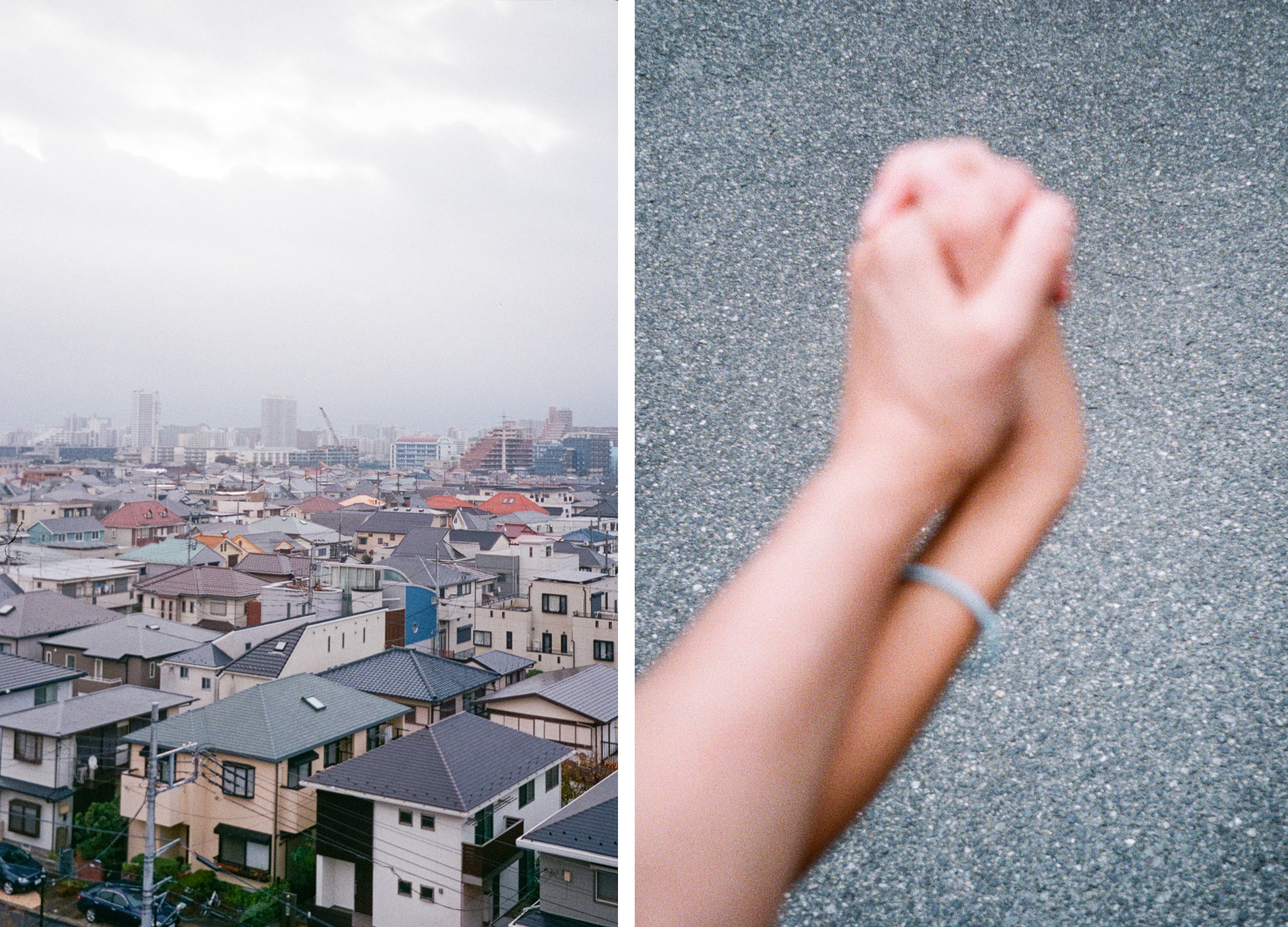 A cityscape of Tokyo, and two hands holding each other