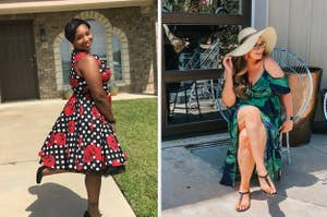 reviewer wearing flared polka dot and floral midi and reviewer in cold shoulder leaf print maxi