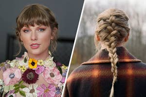 Taylor Swift wears a floral gown and poses on the red carpet of the Grammy Awards and the back of Taylor Swift's head with her hair in a French braid and she's wearing a plaid jacket.