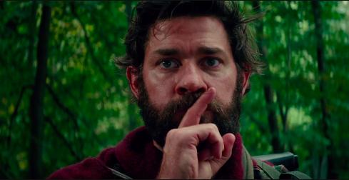 "John Krasinski shushing in the movie ""A Quiet Place"""