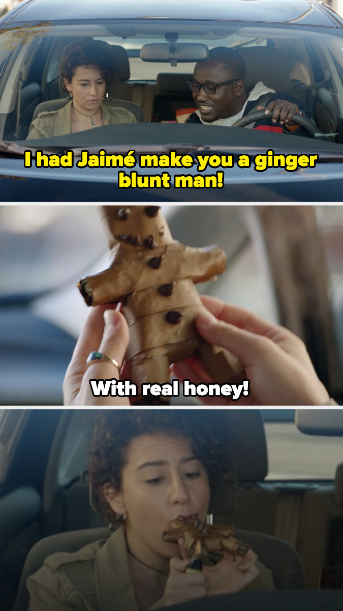 Lincoln giving Ilana a blunt shaped like a ginger bread man