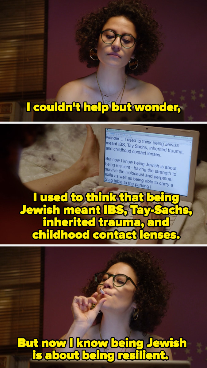 Ilana smoking a joint and writing about being Jewish