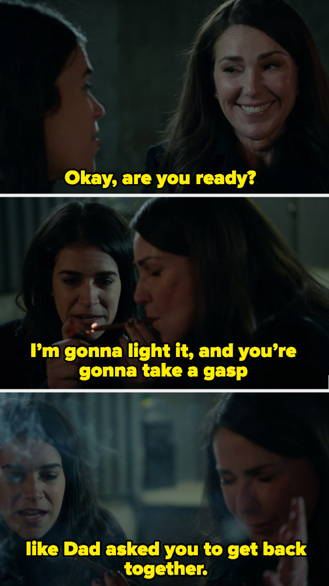 """Abbi lighting a joint for her mother and telling her to """"take a gasp like Dad asked you to get back together"""""""