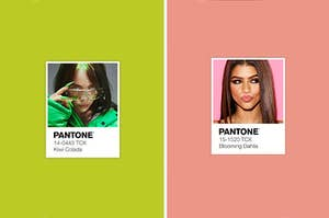 Two models posing with their respective pantone colors