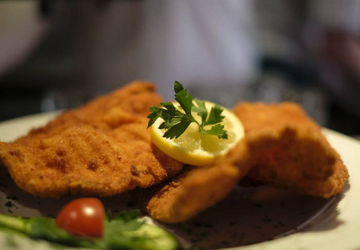 A plate of fried schnitzel.