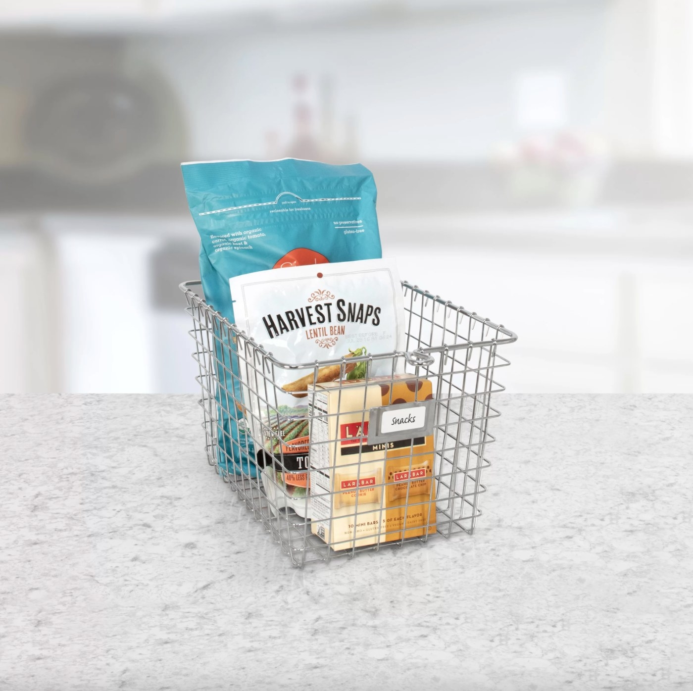 The wire basket holding snacks