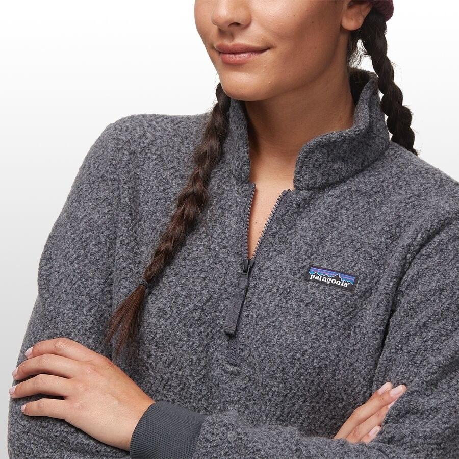 model wearing fleece pullover