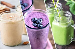 A banana, a berry, and a green smoothie