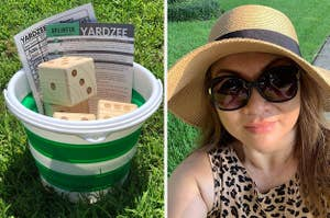 bucket full of oversized dice and Yardzee directions; reviewer wearing wide-brim straw hat with black ribbon