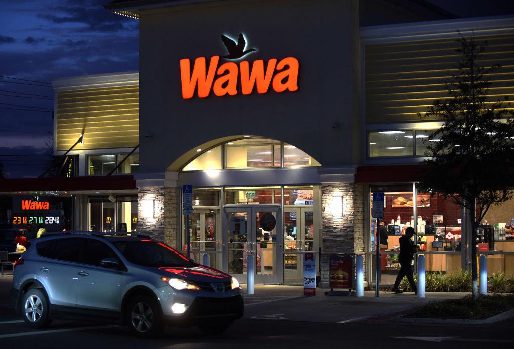Exterior of Wawa shop at night