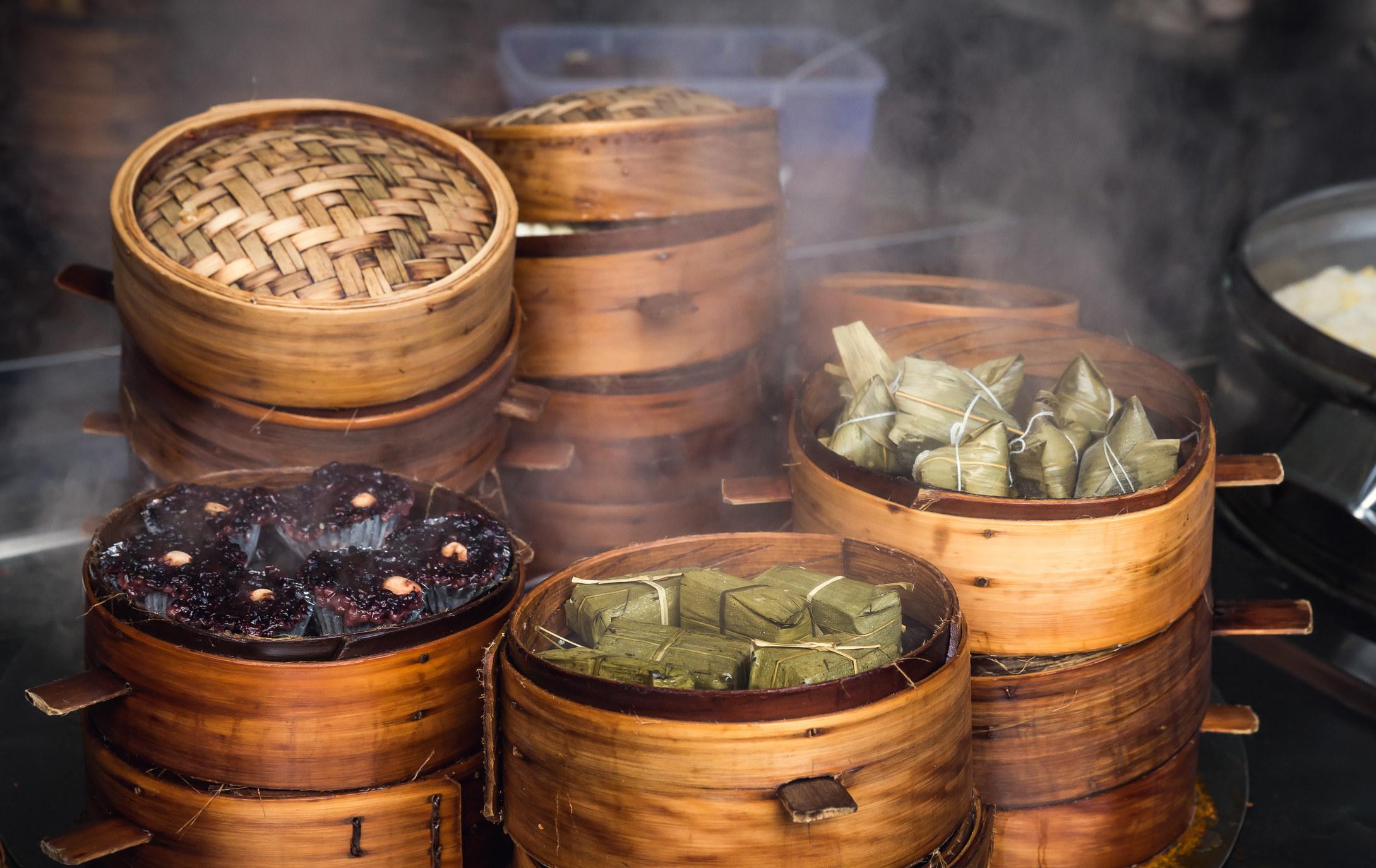 Street food in steamed baskets.