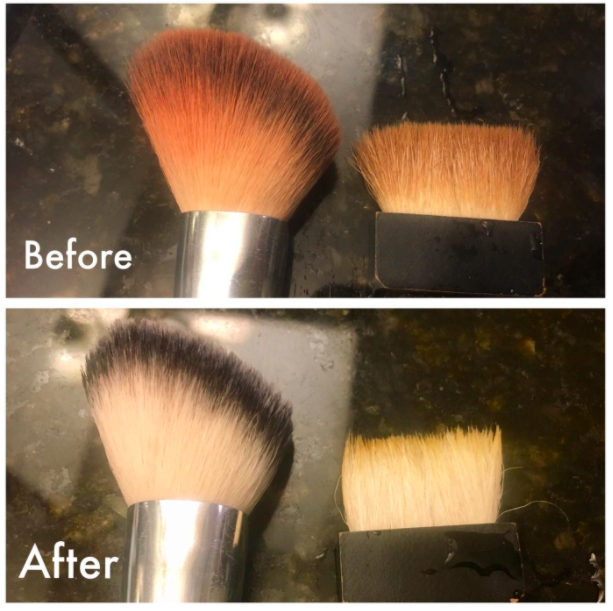A customer review photo showing their brushes before and after using the cleaner