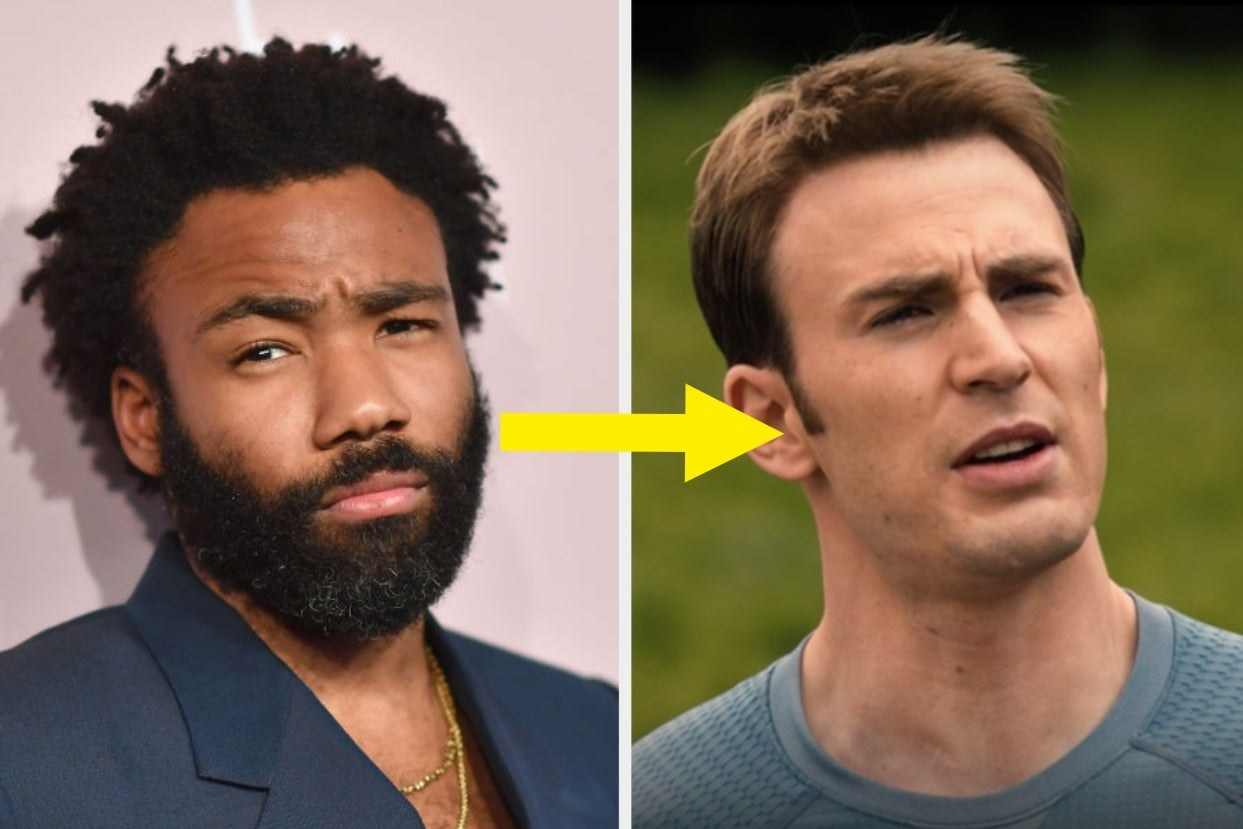 Donald Glover with arrow to Captain America