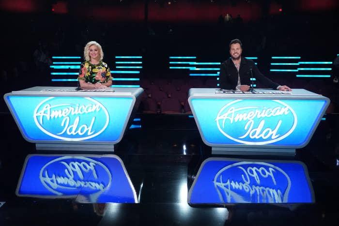 Katy Perry and Luke Bryan on the set of American Idol