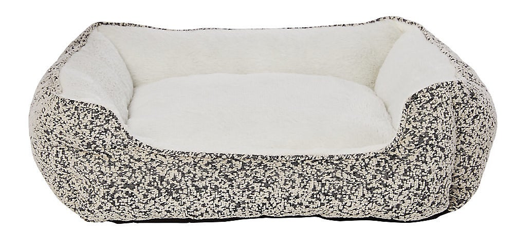 The bed in black (which is actually more like a dappled/heather white/black pattern)