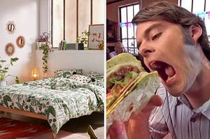 """On the left, a bedroom with a bed that has plant-themed sheets and also plants all around, and on the right, Bell Hader opening his mouth to eat a large taco in an """"SNL"""" sketch"""