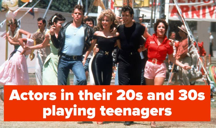 Grease actors in their 20s and 30s playing teenagers