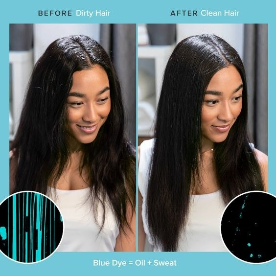 Model's before and after of oily, sweaty hair and then clean-looking hair