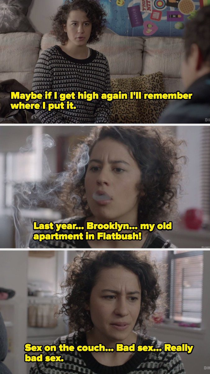 Ilana smoking to remember where her TV remote is located