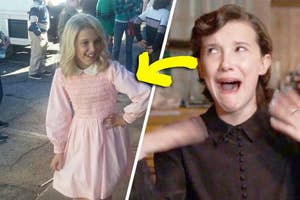 Millie Bobbie Brown making a funny face at one of Eleven's ugly dresses