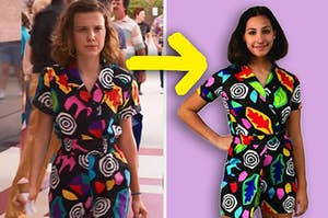 Eleven in a '90s inspired jumpsuit with wild patterns on it next to a girl wearing the same thing