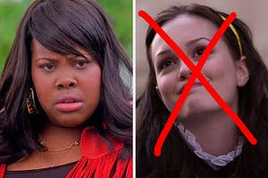 """On the left, Mercedes from """"Glee,"""" and on the right, Blair from """"Gossip Girl"""" with an """"x"""" drawn over her face"""