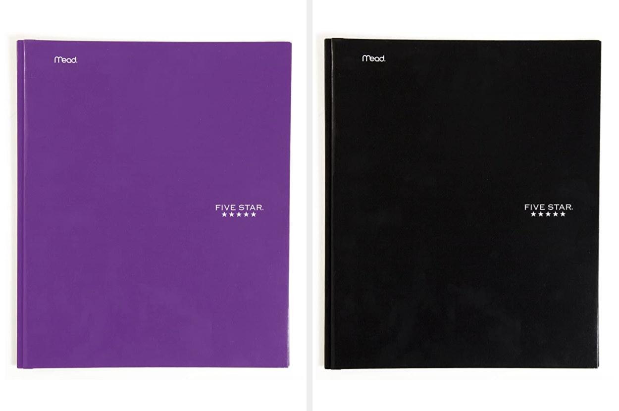 Purple and black folders