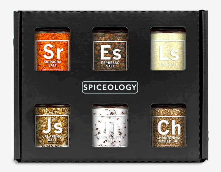 The salt variety set in its box