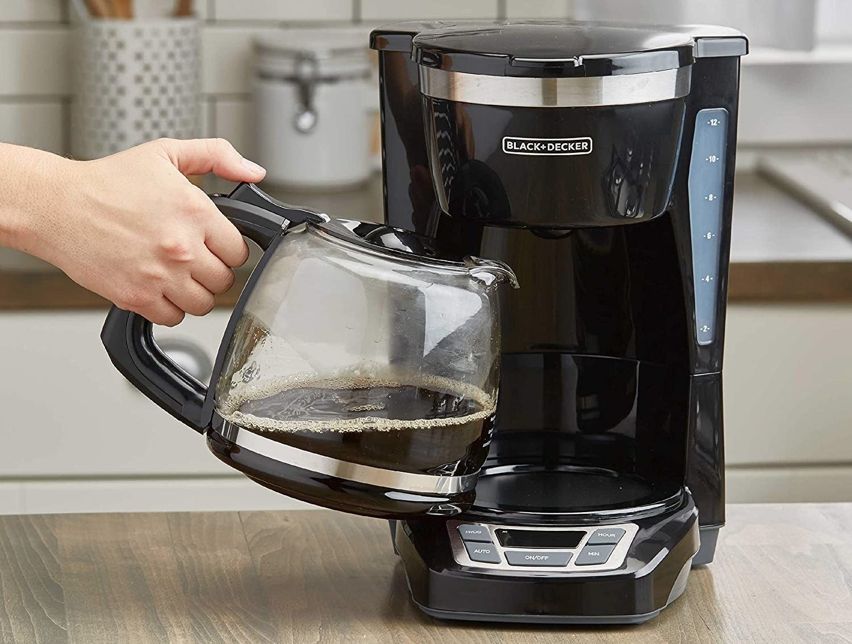 Model using the coffee machine
