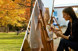 A student sitting on the grass on a college campus and a student in an art class