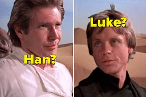 """Mark Hamill as Luke Skywalker and Harrison Ford as Han Solo in the movie """"Star Wars: The Empire Strikes Back."""""""