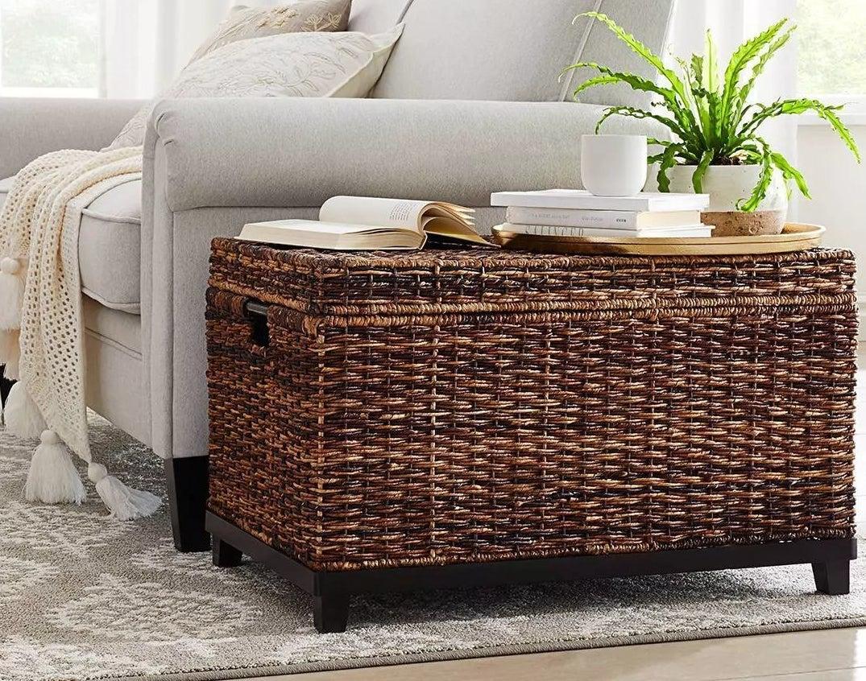 A wicker basket trunk