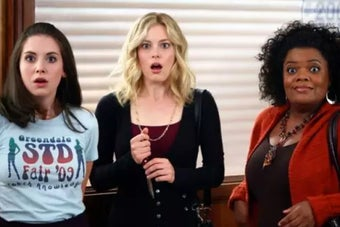 Yvette Nicole Brown as Shirley Bennett, Gillian Jacobs as Britta Perry, and Alison Brie as Annie Edison in the show