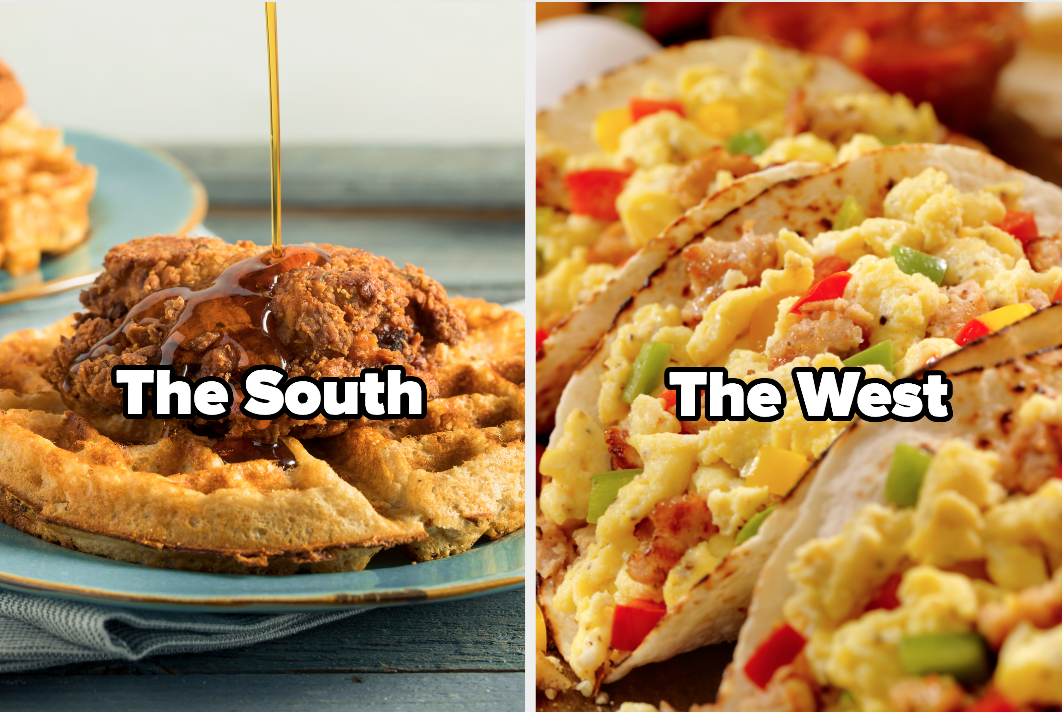 """Chicken and waffles with the words """"the south"""" and breakfast tacos with the words """"the west"""""""