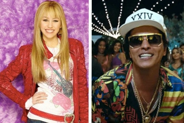 Hannah Montana and Bruno Mars