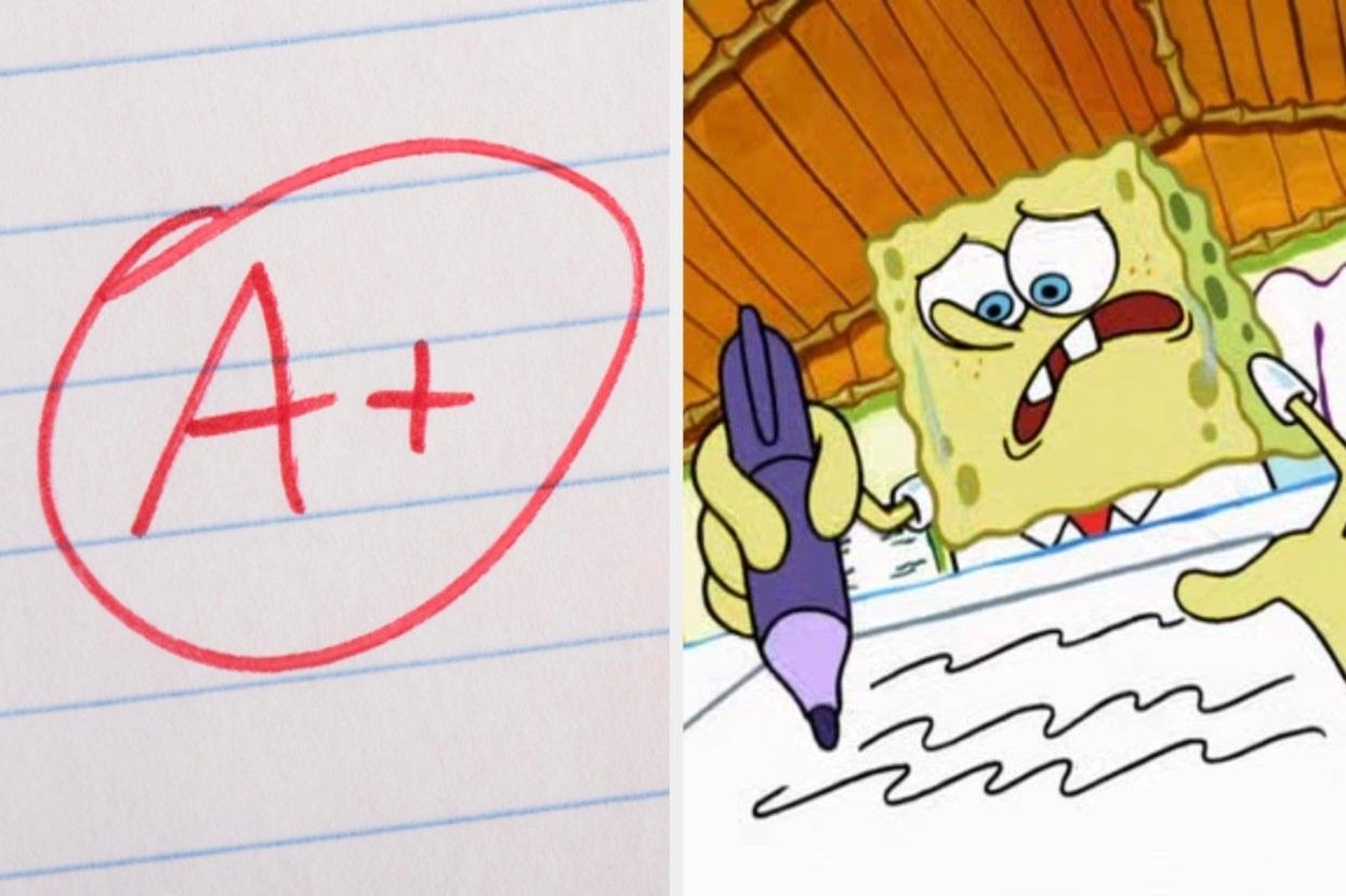 A+ and SpongeBob writing a test