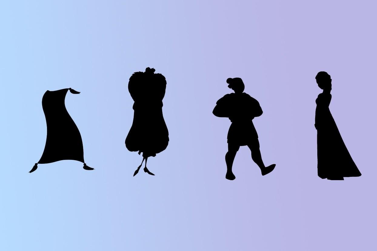 Silhouettes of carpet, Cruella, Mulan, and Elsa