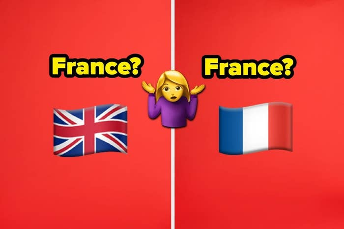 France with two different flag emojis and confused girl emoji