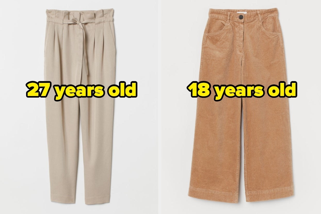 """Paper bag pants with words """"27 years old"""" and corduroy pants with words """"18 years old"""""""