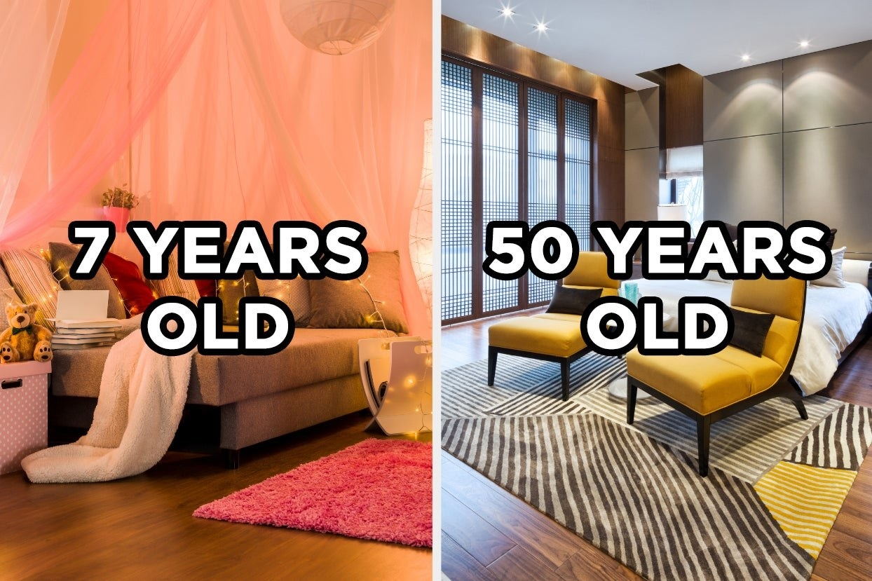 """Fairy lights pink bedroom with the words """"7 years old"""" and chic modern bedroom with the words """"50 years old"""""""