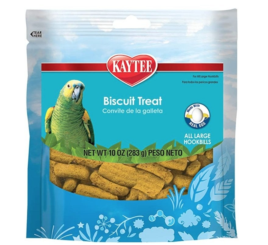 A 10oz pack of Kaytee biscuit treats for pet parrots