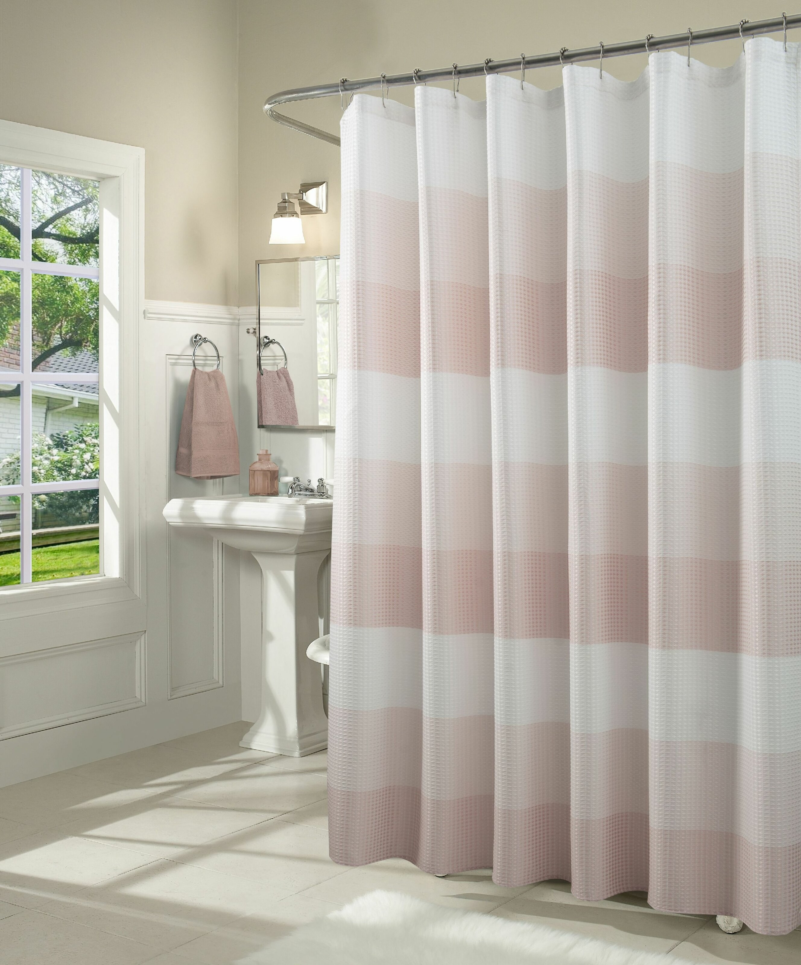 Blush pink and white shower curtain