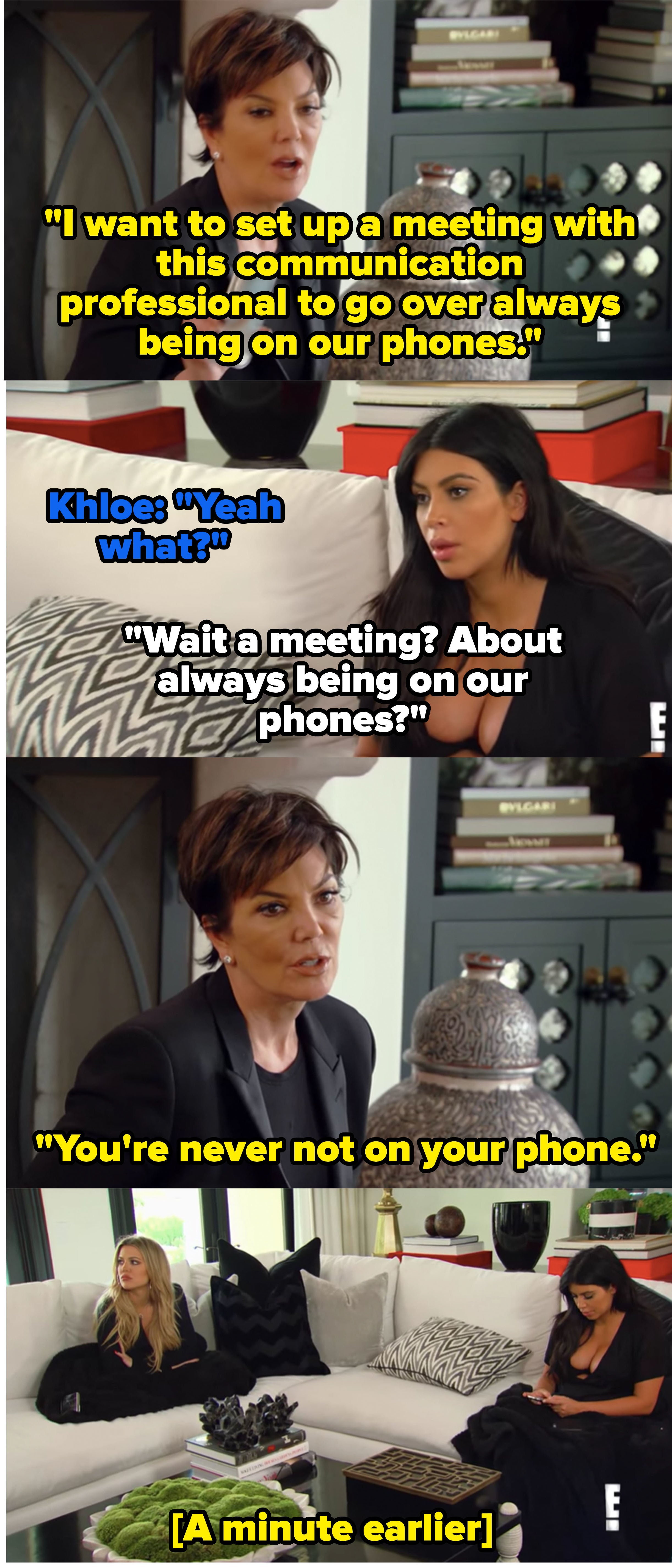 """Kris, Khloe, and Kim talking in """"Keeping Up with the Kardashians"""""""