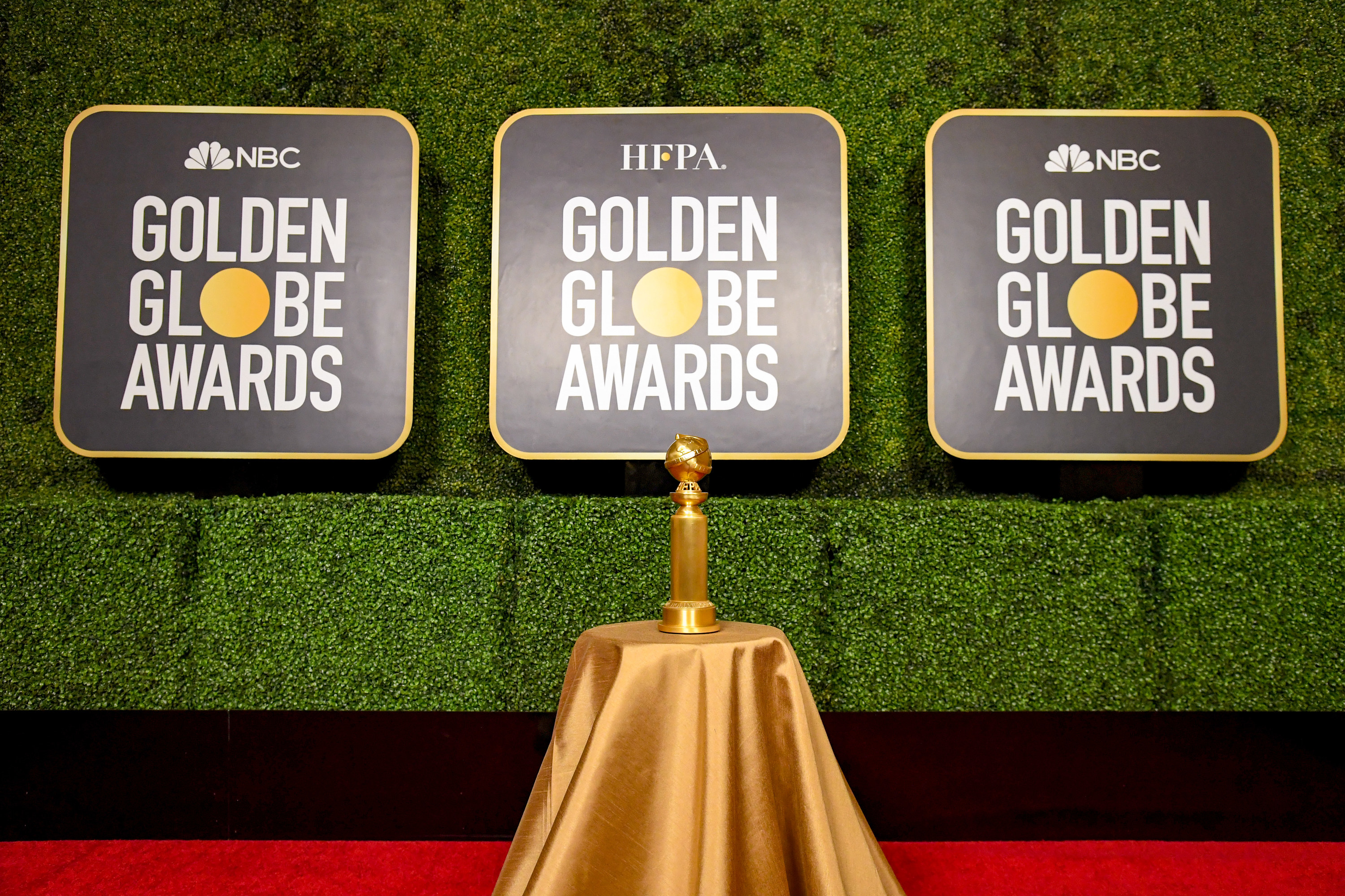 The Golden Globe Trophy on the red carpet